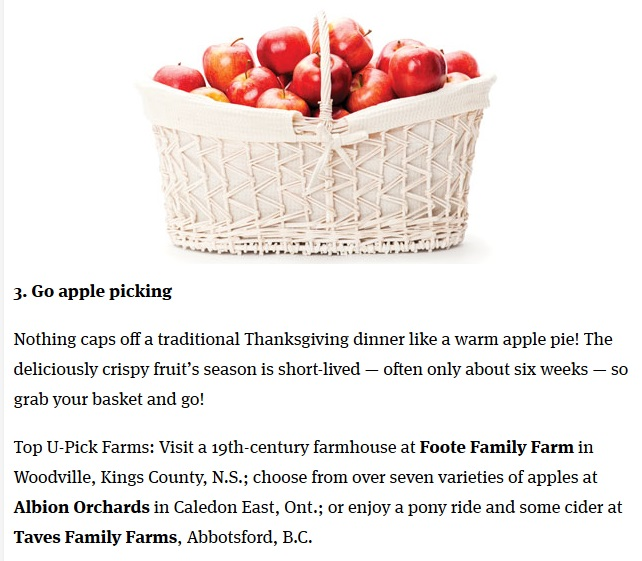 Chatelaine Magazine article about Albion Orchards